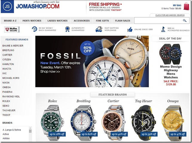 Jomashop購買手錶優惠券/折扣碼/65%折扣優惠碼