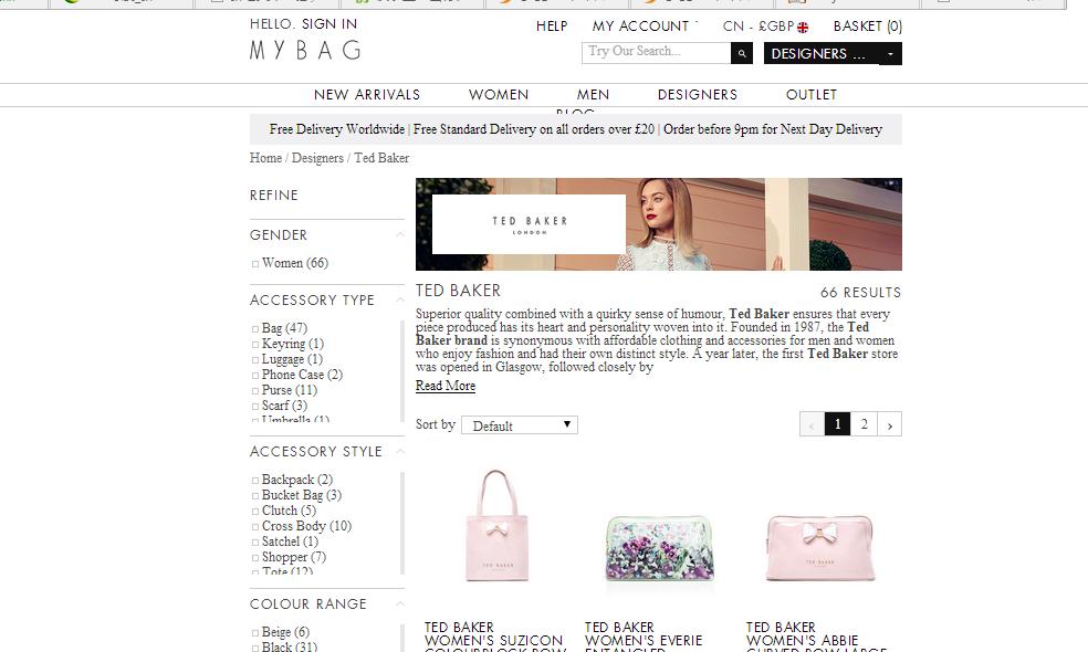 英國網站Mybag購買Ted Baker 包包限時85折優惠