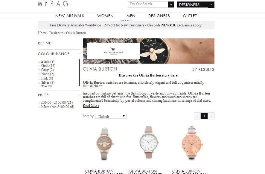 英國Mybag/Argento網購Olivia Burton手錶限時 85 折優惠起
