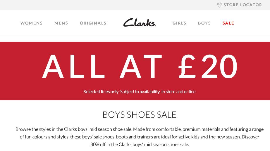 Clarks官網全場購買20英鎊優惠/註冊購物教學教程攻略