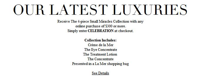 La Mer海藍之謎官網2018優惠送大禮! 現有任意訂單滿$300送雙重好禮 送豪華中樣(最高價值$291.2)
