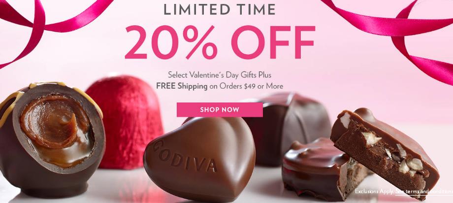 Godiva2018優惠碼歌帝梵巧克力美國官網情人節專題 指定產品8折!