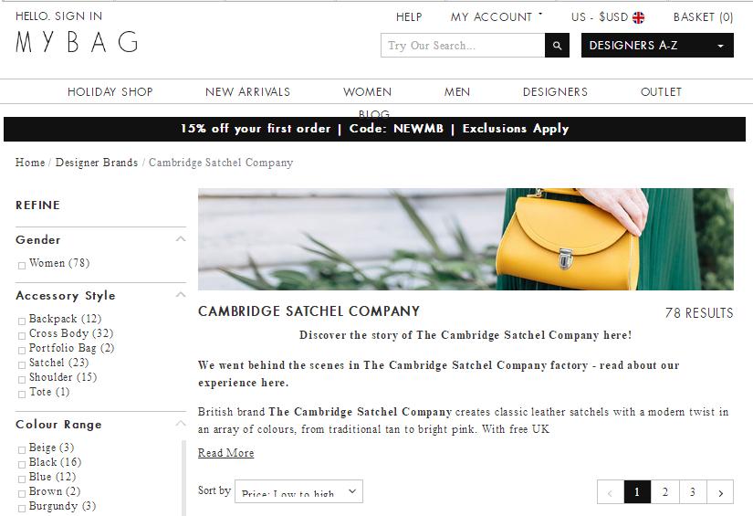 英國網站MyBag最新68折優惠碼2018/購Cambridge Satchel劍橋包低至HK$420 + 免運港澳