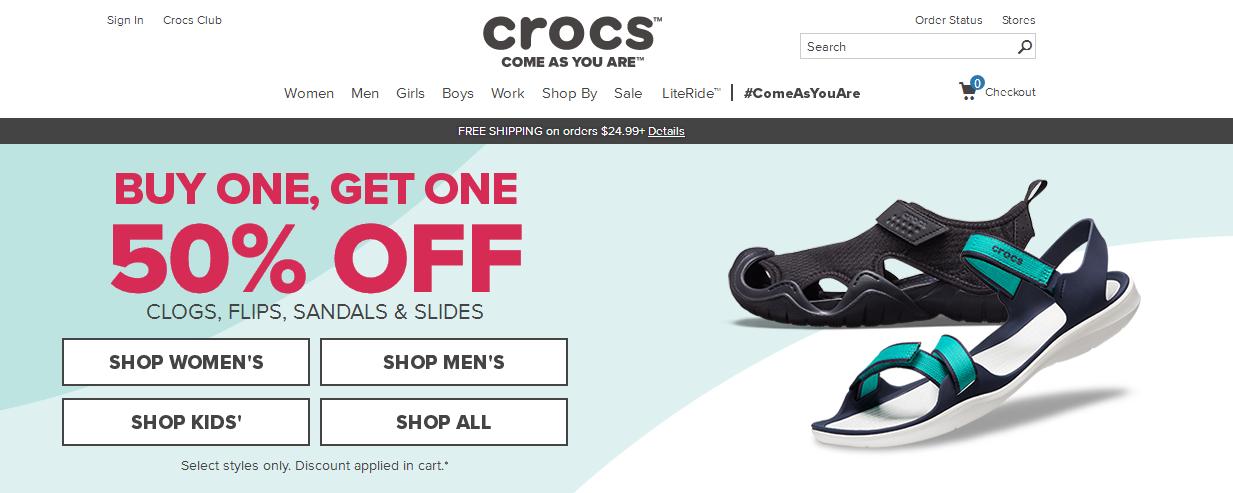 Crocs優惠碼2018 Crocs美國官網精選鞋款第二雙5折 折扣區也參加