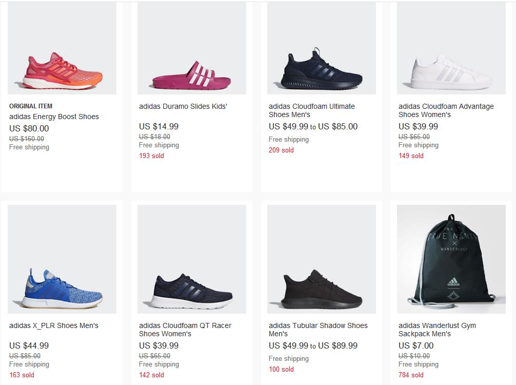 eBay優惠碼2018 eBay有adidas 服飾鞋履額外7.5折
