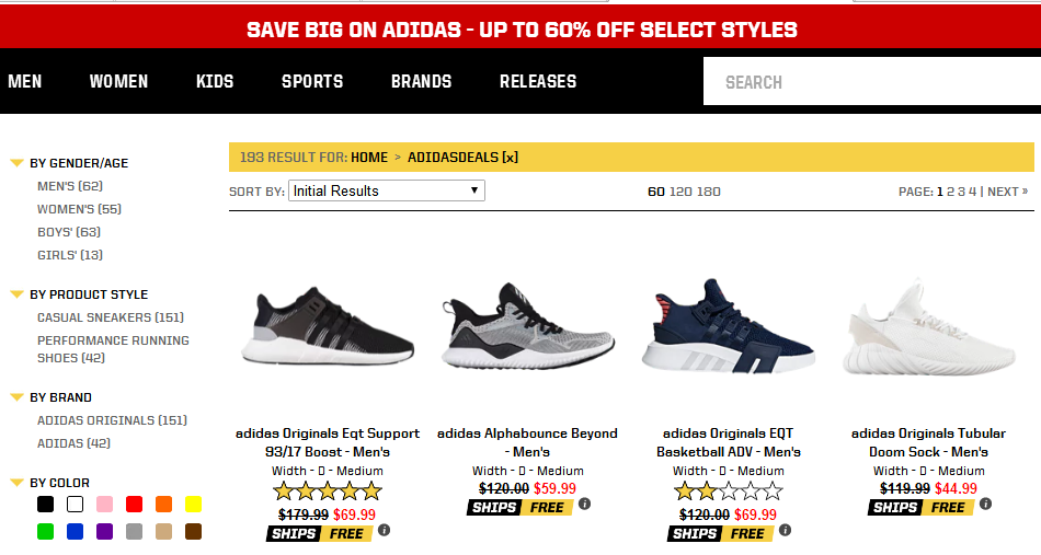 Eastbay優惠碼2018 Eastbay官網精選Adidas阿迪鞋履低至4折促銷