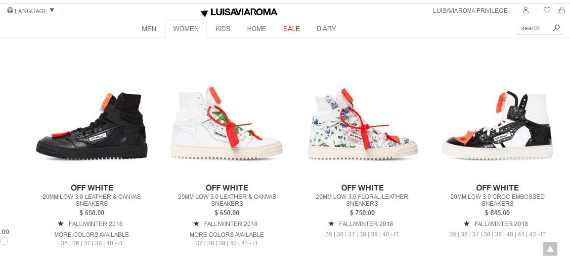 LUISAVIAROMA優惠碼2018 OFF WHITE Low 3.0 運動鞋原價$650,現特價$572