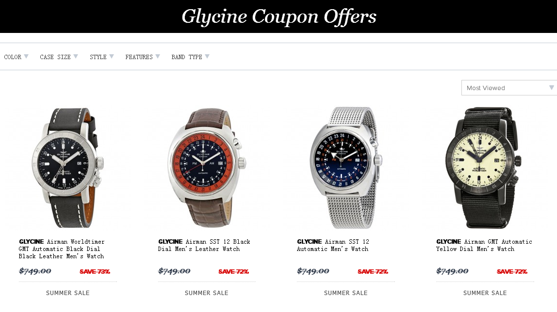Jomashop優惠碼2018【Jomashop】GLYCINE WATCHES渠道專享碼