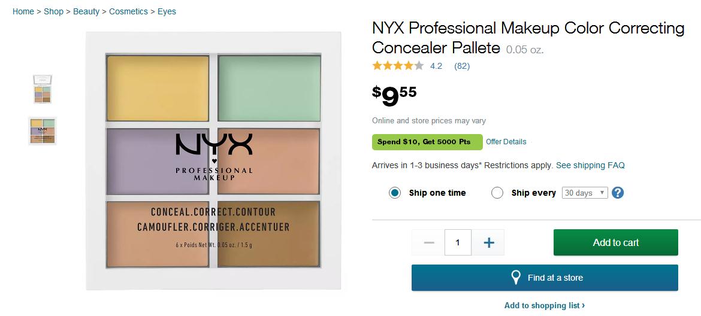 Walgreens優惠碼2018 NYX Professional Makeup 6色修容遮瑕盤,滿$40享8.5折