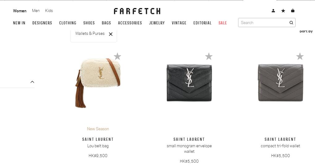 最新Farfetch包包優惠折扣碼2018/名牌網Farfetch購YSL銀包低至香港7折