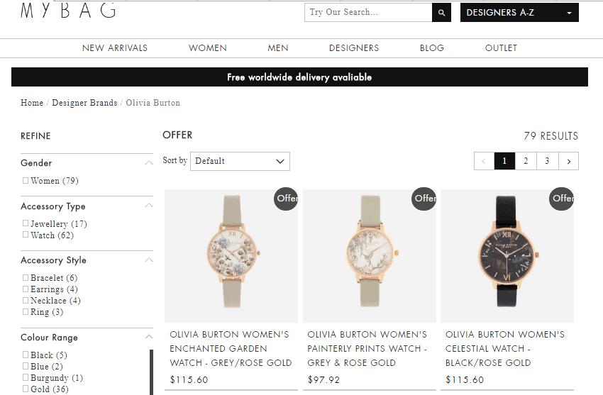 英國網站MyBag購Olivia Burton手錶74折優惠碼,最平HK$548有一個,免運費