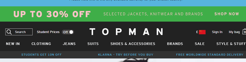 Topman官網2018優惠碼、買滿即減!最高可減25英鎊:輸入優惠碼:TREAT,買滿60英鎊立減10英鎊/輸入優惠碼:TREAT,買滿75英鎊立減15英鎊