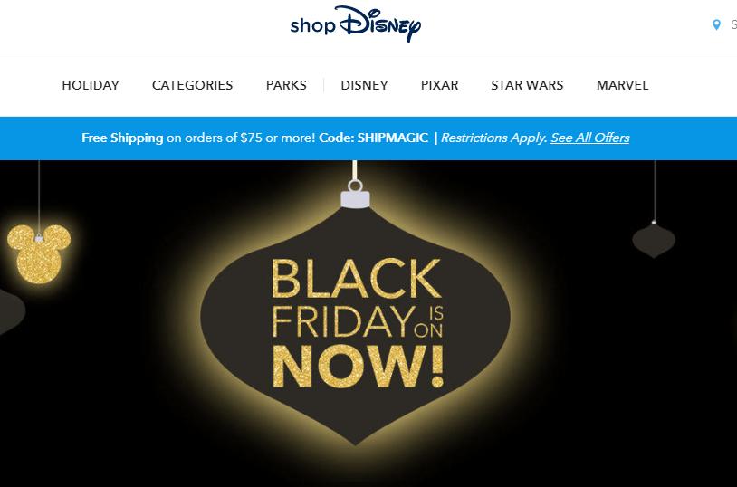 Disney 2018黑色星期五優惠碼 專場僅$6起 購滿$75即可免郵!