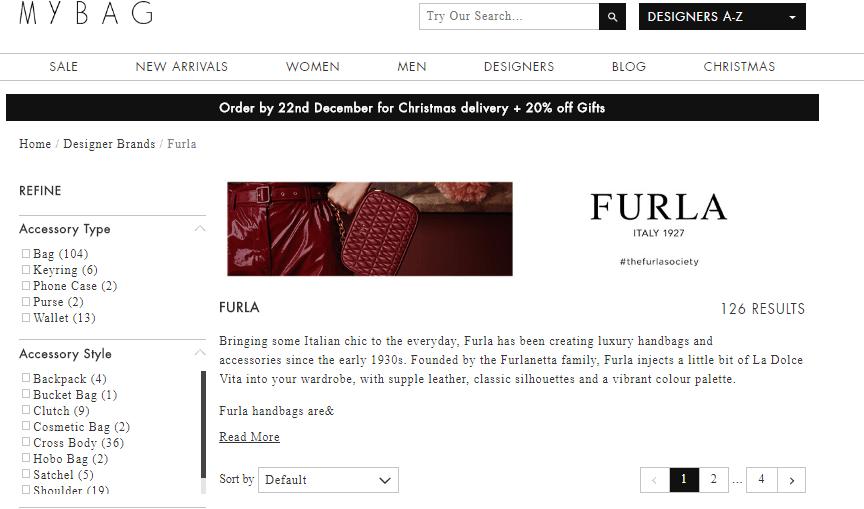 英國網站MyBag 2018優惠碼,  聖誕節優惠, 購Furla包包錢包低至6折+快閃額外9折,免郵香港