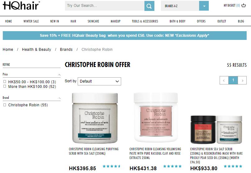 HQhair快閃優惠碼2018,Christophe Robin全線護髮產品67折+免郵寄香港