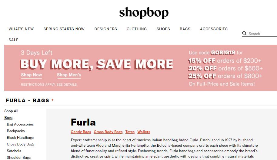 美國網站Shopbop必購精選人氣包包優惠碼, Shopbop必買Furla最新包款低至75折優惠