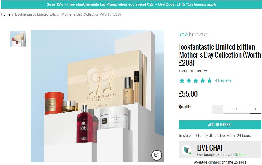 Lookfantastic英文站限量版母親節禮盒上線價值£208/僅售£55/2件7.5折優惠長期/支付方式多樣/支持直郵
