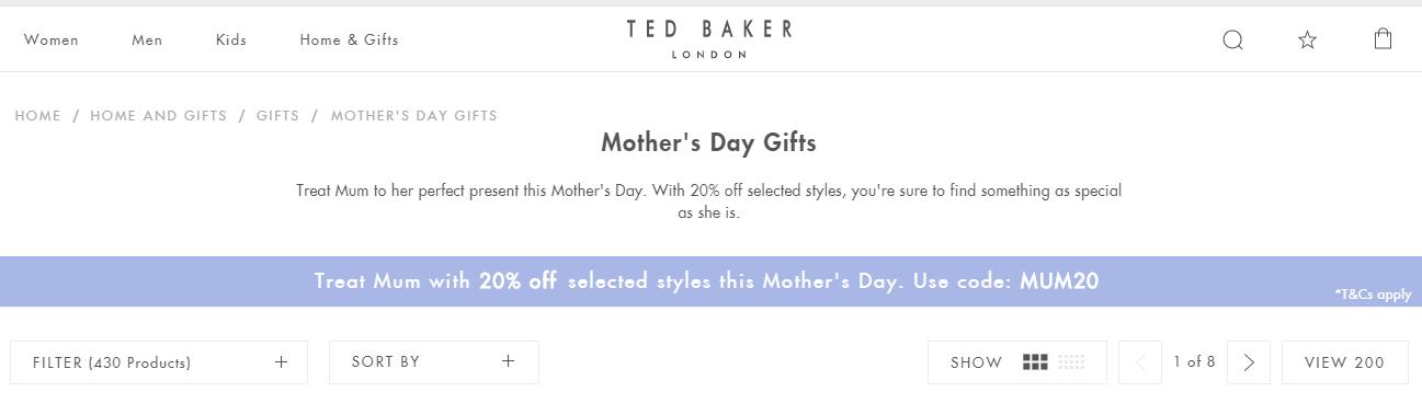 2019英國母親節優惠碼!Ted Baker官網指定產品促銷8折