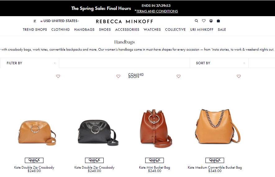 2019/4月Rebecca Minkoff最新促銷代碼/折扣碼/優惠碼, 官網推出熱款包包低至7折優惠