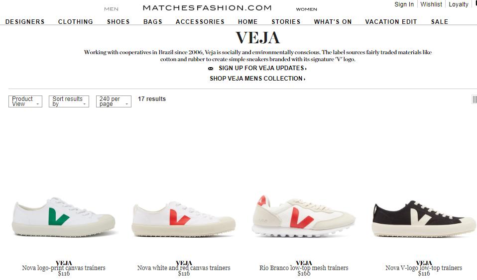 Matchesfashion名牌網最新2019限時85折優惠碼, 全球爆紅的法國品牌VEJA鞋款,低至香港價63折