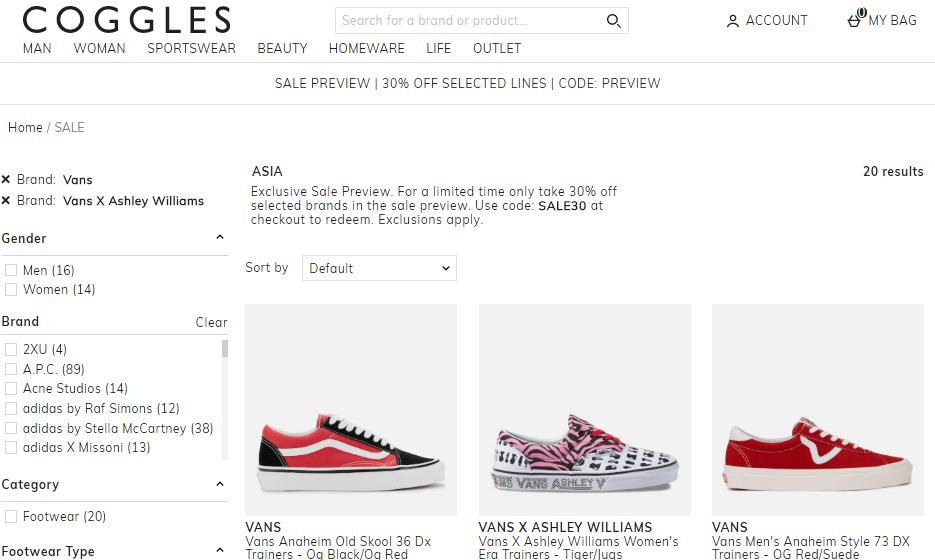 英國網站coggles鞋款優惠碼2019, 精選多款型格Vans 鞋有7折,最平HK$396
