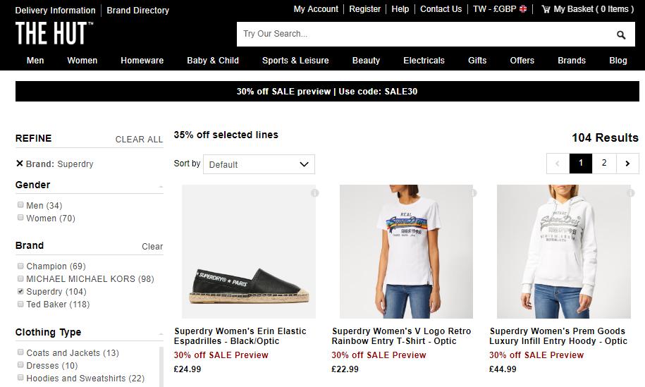 英國網站The Hut超抵65折優惠碼2019, 購Superdry服飾折完低至香港價44折,各種鞋包有折