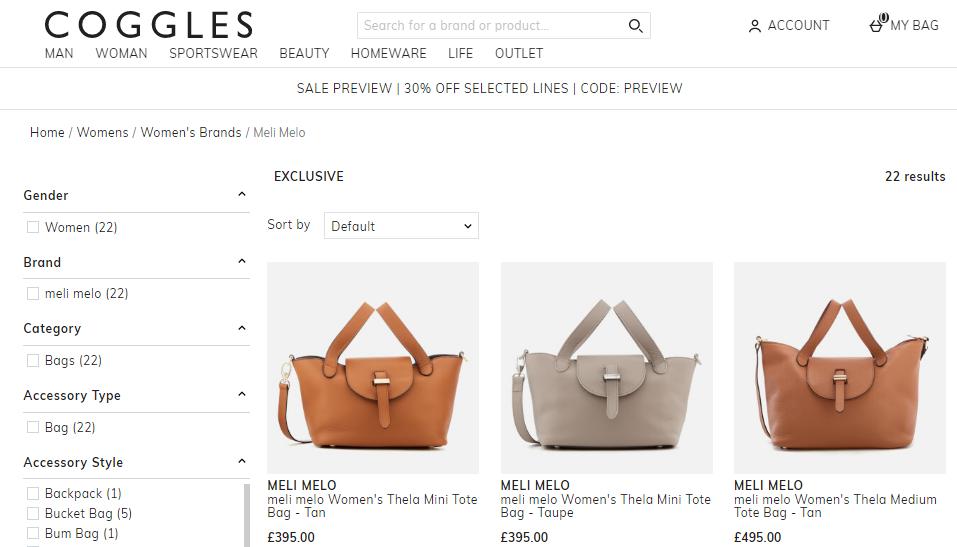 Coggles網購6折優惠碼2019,明星名人追捧的英國品牌Meli Melo包包折後最平HK$1,383起, 包郵