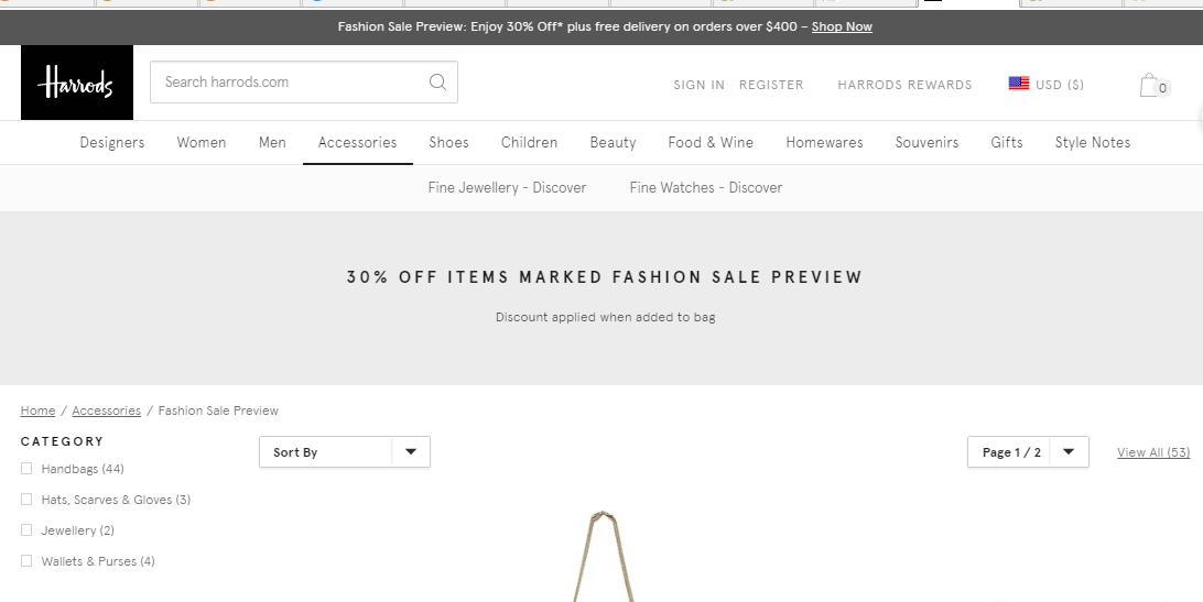 Preview Fashion Sale/超多精選名牌限時7折/必買Valentino包款最平低至香港5折, 英國Harrods百貨網站最新優惠2019
