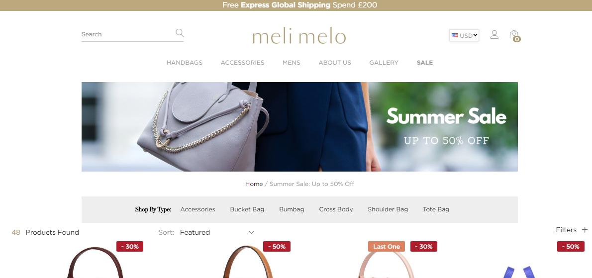 超罕見半價優惠, 經典的/超多明星名人大愛的包包夏日大減價, 英國Meli Melo網站2019最新激減促銷