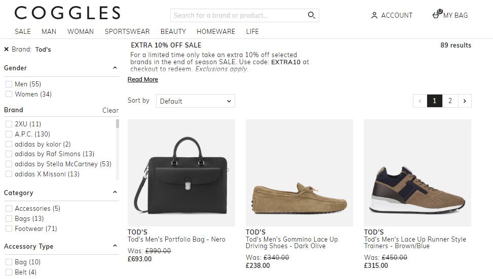 英國Coggles網有低至5折再9折優惠,Tod's大熱豆豆鞋網上超多好評