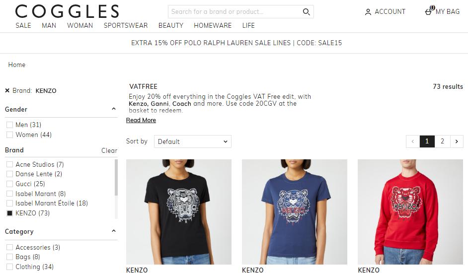 英國網站Coggles限時8折優惠,KENZO熱賣新款男女TEE低至HK$700,滿50英鎊包郵