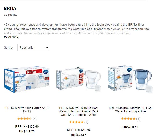 英國網站The Hut 推出德國Brita濾水壺濾芯優惠,低至香港價49折/兩盒BRITA 6個濾芯額外9折優惠