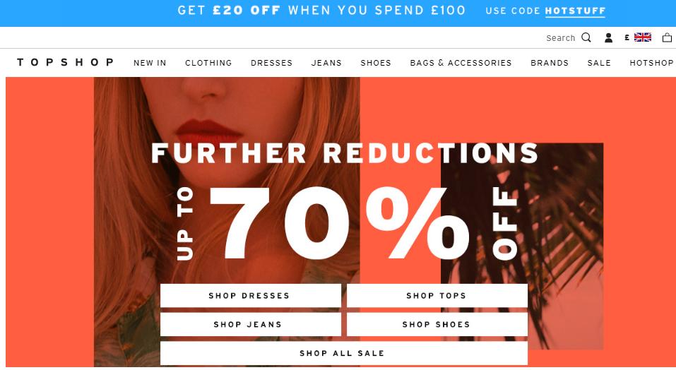 英國官網Topshop 全場產品購滿£100減£20,限時兩天促銷