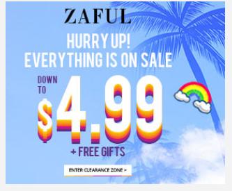 Zaful優惠碼2019【Zaful】夏季清倉,低至$4.99