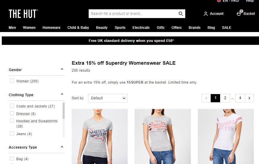 The hut網購Superdry女裝激抵大減價2019,低至4折再85折,超多200個款式