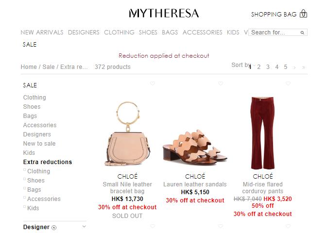 Mytheresa網站暑假神祕優惠券2019,Chloé包款7折+額外9折
