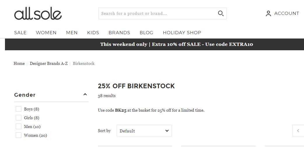 英國網站Allsole折扣碼2019, 推出Birkenstock鞋款快閃75折優惠,低至香港6折價