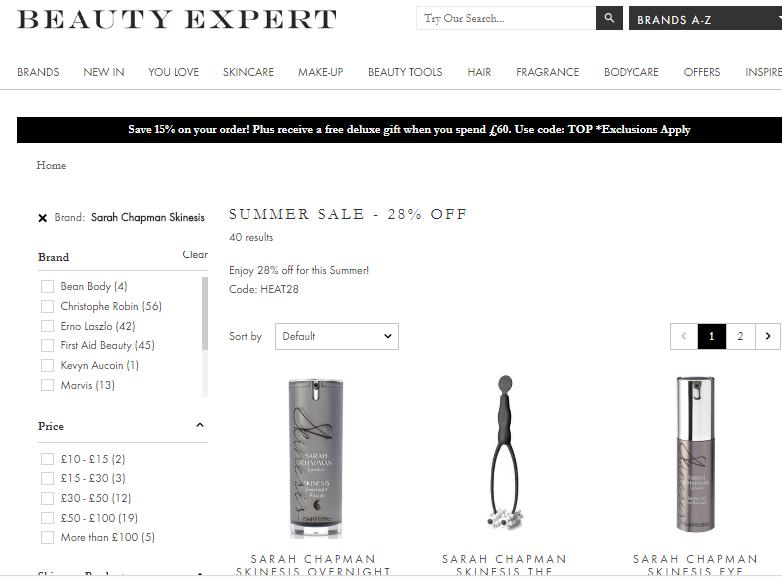 英國網站Beauty Expert全線限時72折優惠券2019, 護膚品牌Sarah Chapman 特價