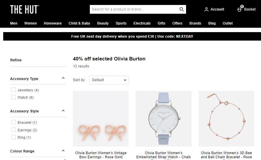 TheHut折扣碼2019, 購Olivia Burton手錶6折優惠, 有最經典熱銷花牟系/純色款/動物圖案, 滿20英鎊免運