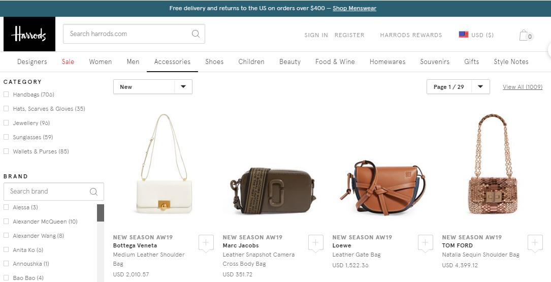 哈羅德百貨Harrods網站優惠碼2019, 好多新季熱銷名牌包包, 低至香港價錢72折,包括Loewe/YSL/Givenchy