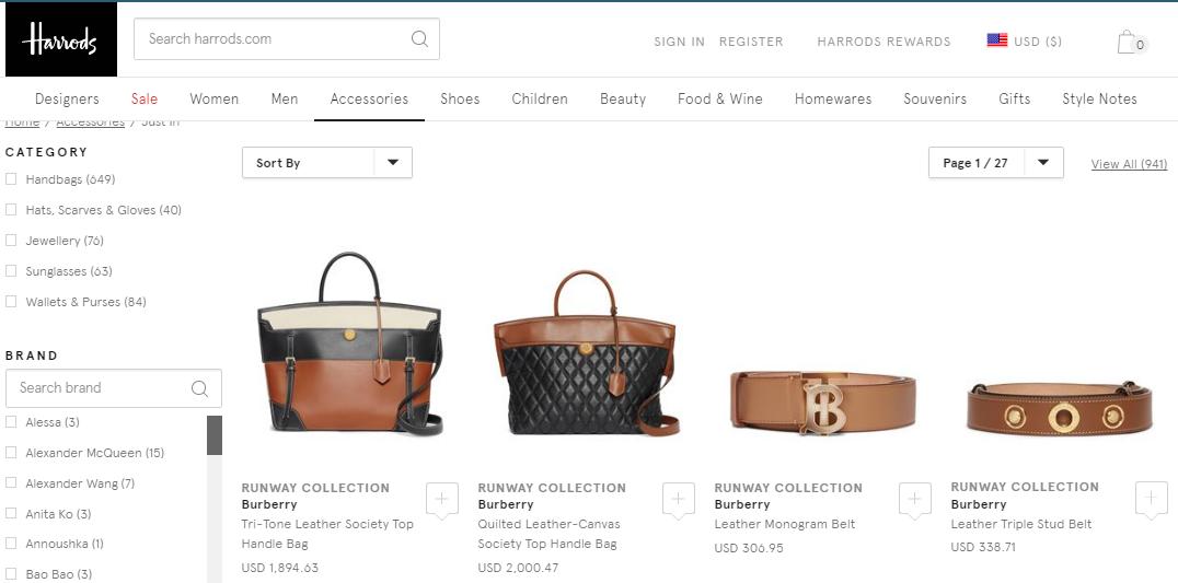 英國百貨Harrods優惠碼2019, 好多新季新款名牌包包低至香港價錢65折, Chloé/Loewe Gate Bag/Burberry等