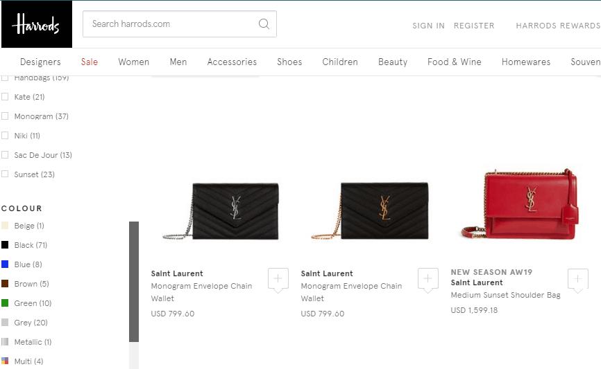 英國百貨Harrods網站優惠碼2019, 19秋冬新款YSL包包,過百款包包網購低至香港53折, 運費低價