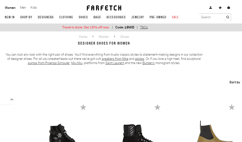 Farfetch名牌網優惠碼2019, 推出限時85折, 好多名牌人氣鞋款特價, 低至香港價錢57折, 免郵