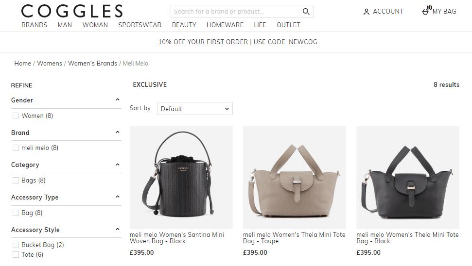 Coggles網站優惠碼2019, 英國熱款meli melo包包6折優惠, 多種顏色同size選擇, 包郵