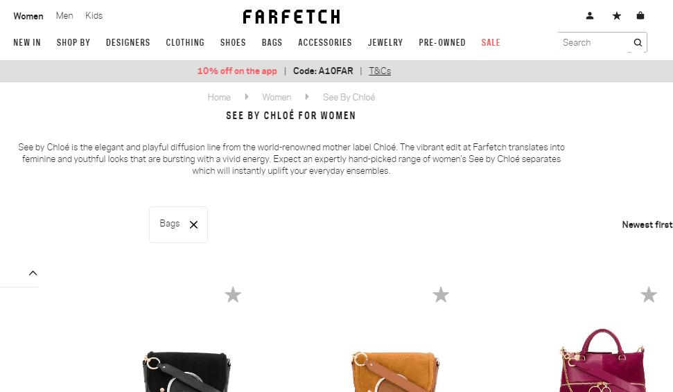 名牌網Farfetch限時9折優惠碼2019, 最新人氣包款Chloé Mara系列折完低至香港價72折