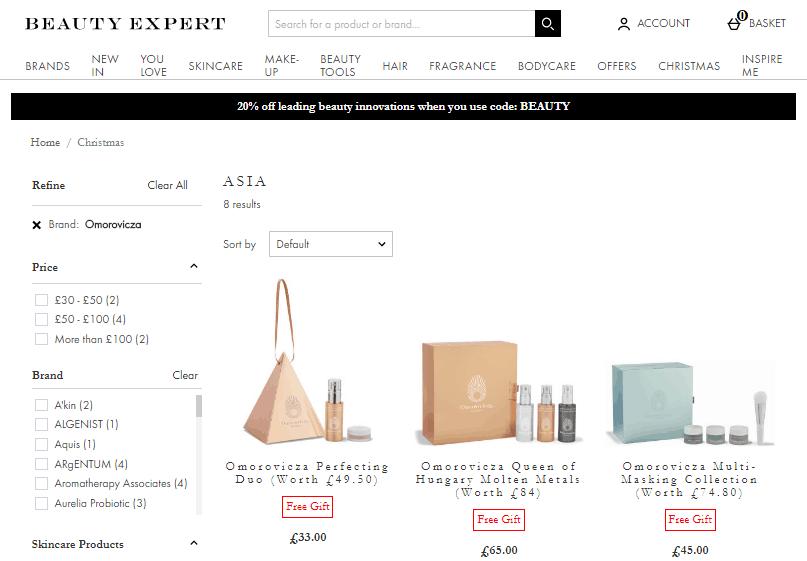 BeautyExpert網站限時78折優惠碼2019, 精選匈牙利Omorovicza聖誕禮盒套裝  折扣低至香港價錢49折左右