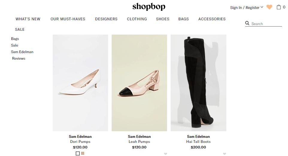 美國網站Shopbop優惠碼2019, 網購Sam Edelman鞋款, 低至香港價錢59折