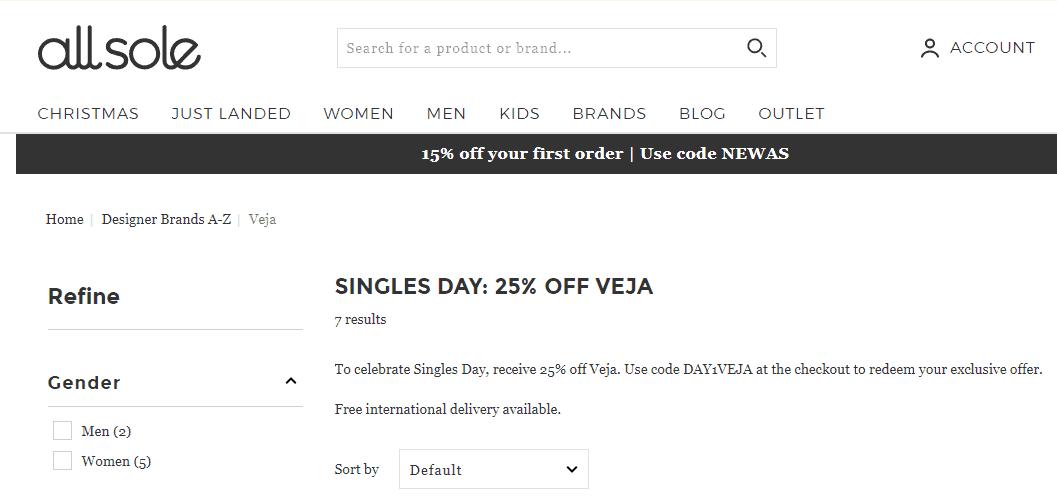 英國網Allsole雙十一限時大優惠2019, 75折促銷, Veja人氣波鞋折完低至香港價62折, 折後低至HK$811起