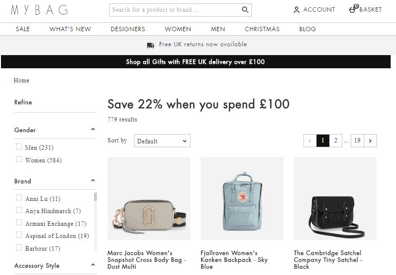 2019雙12促銷, 英國MyBag網站推出震撼限時優惠, 減價款式包包低至4折再9折
