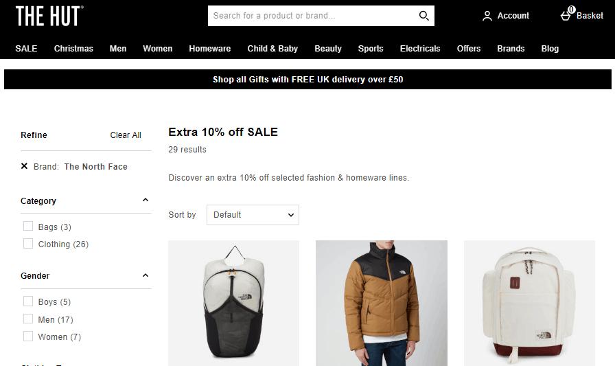 2019雙12促銷, 英國網站The Hut購The North Face 服飾低至4折再額外9折